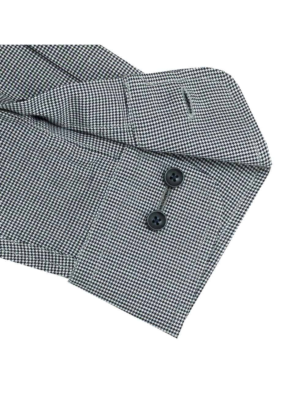 CF Black and White Houndstooth 100% Premium Cotton Easy Iron Long Sleeve Single Cuff Shirt CF2B27.4