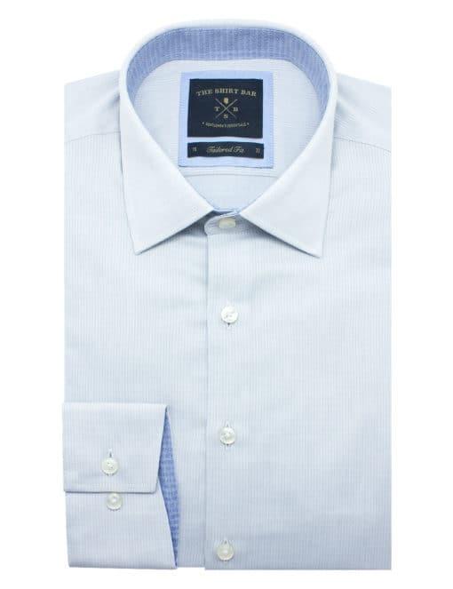 Tailored Fit Cotton Blend Light Grey Stripes Spill Resist Single Cuff Shirt TF2C21.6