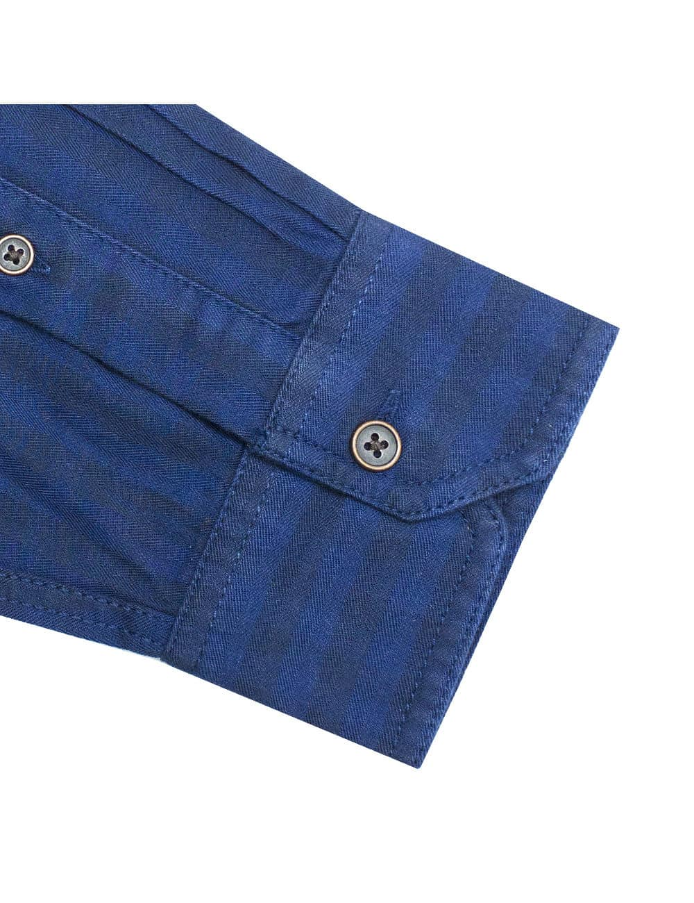 RF Navy Checks Denim Collection 100% Cotton Long Sleeve Single Cuff Shirt RF35A1.8