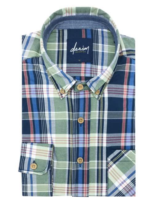Blue/ Green/ Pink Checks Button Down Collar Custom / Relaxed Fit Long Sleeve Shirt - RF36B1.8