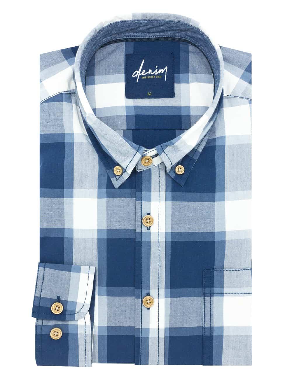RF Navy Checks Denim Collection 100% Cotton Long Sleeve Single Cuff Shirt RF37B1.8
