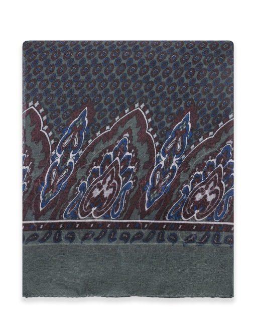 'Marrakech' Ash Grey Paisley Printed Scarf - WS11.1