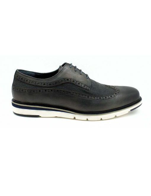 Black Leather Derby Wingtip Shoes - F12B1.1