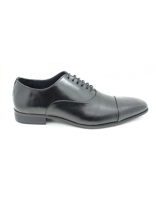 Black Leather Oxford Cap Toe Shoes - F1A1.3