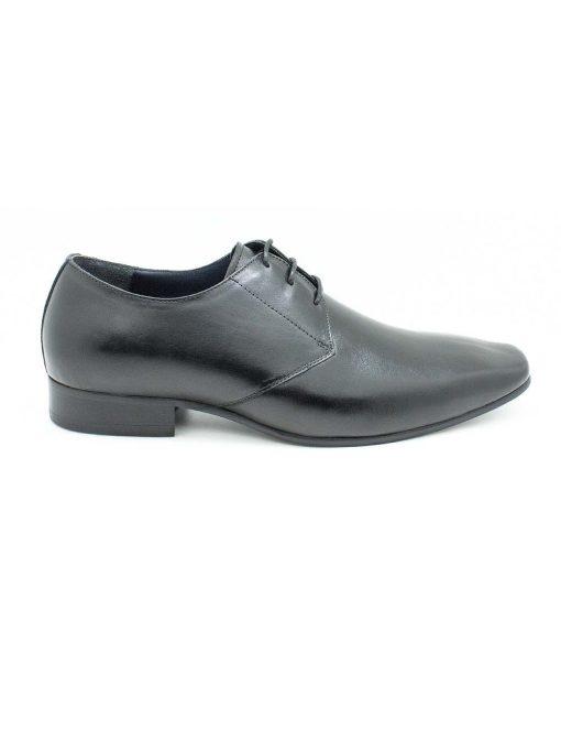 Black Leather Oxford Plain Toe Shoes - F12A1.2