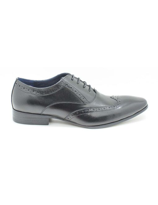 Black Leather Oxford Wingtip Shoes - F3A1.1