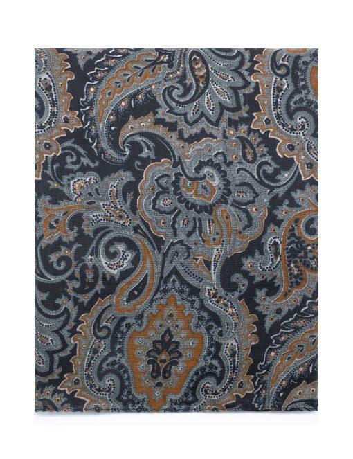 'Versailles' Black with Orange Paisley Printed Scarf - WS10.1