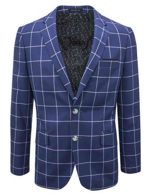 Slim Fit Blue Checks Single Breasted Blazer - S2B6.3