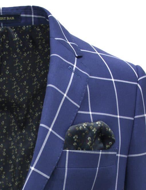 Slim Fit Blue Checks Single Breasted Blazer - S2B6.3