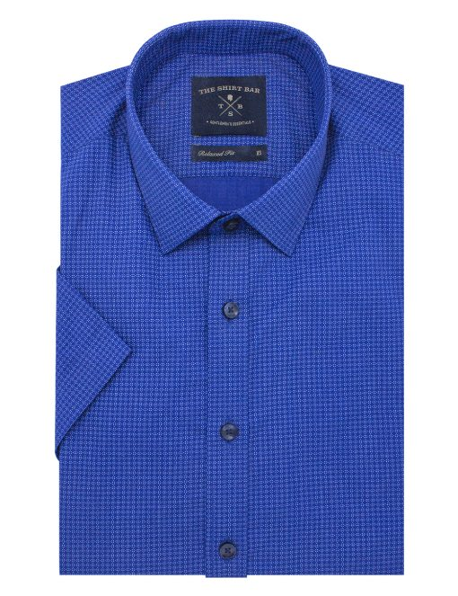 Blue Print Short Sleeve Shirt - RF31S6.10