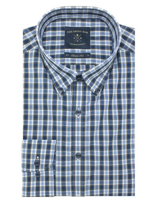 Navy and Brown Checks Easy Iron Button Down Collar Modern / Classic Fit Long Sleeve Shirt - CF5B10.10