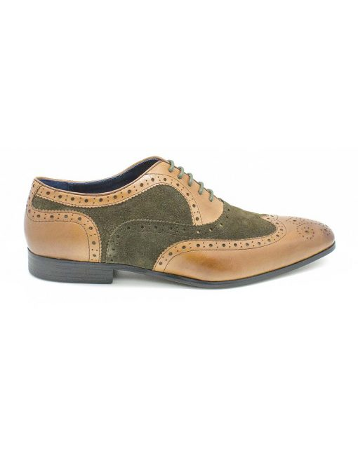 Brown / Green Leather Oxford Wingtip Shoes - F4A7.1