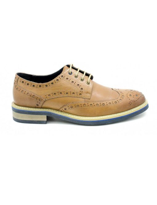 Brown Leather Derby Wingtip Shoes - F8B11.1