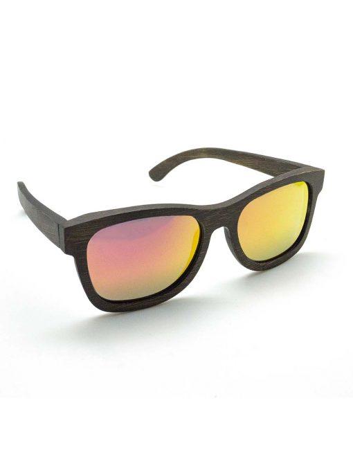 'Brad' Dark Brown with Red Lens Bamboo Sunglasses – EW8.NOB1