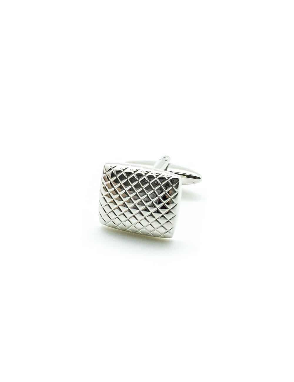 Classic Silver Rectangle Slanted Check Cufflink C101FC-054