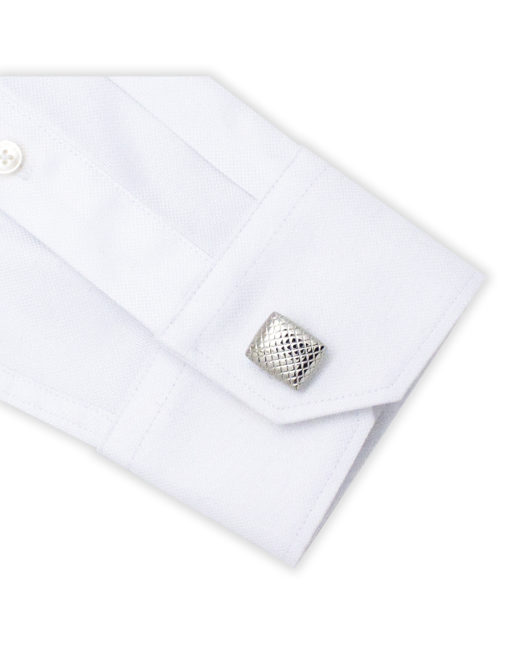 Classic Silver Rectangle Slanted Check Cufflink C101FC-054