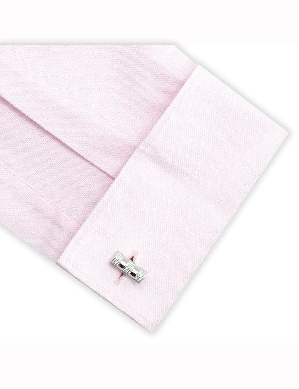 Classic Silver Barrel with Triple Checked Line Cufflink C101FC-080A
