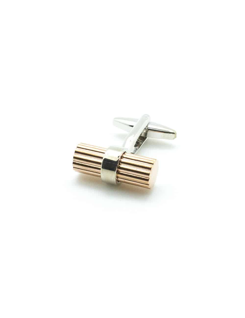 Classic Rose Gold Line Cylinder with Silver Centre Circle Cufflink C101FC-081A