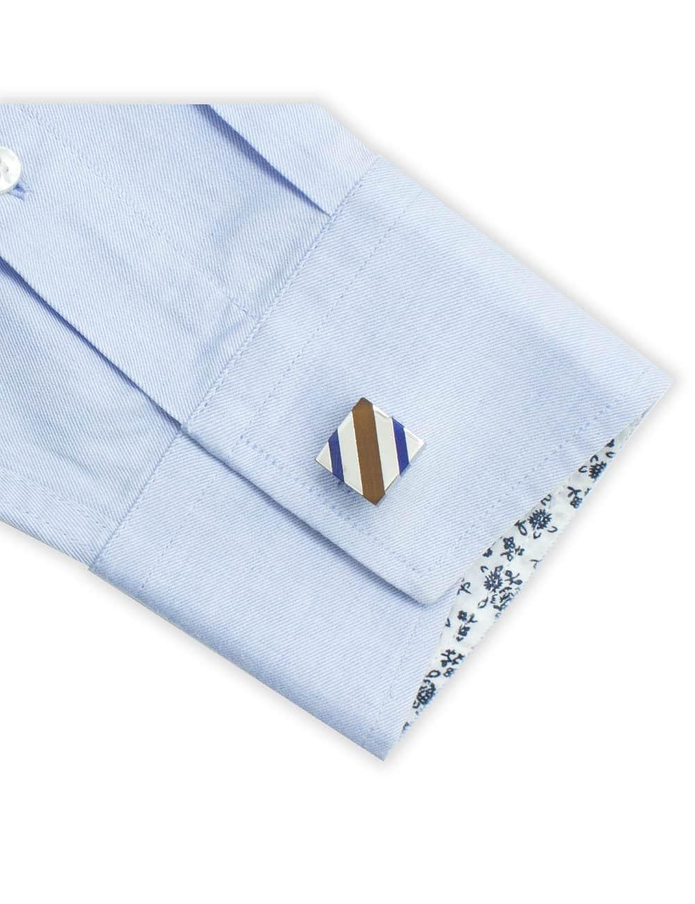 Blue and Plum Cat Eye Slash Cufflink C121FC-032A.