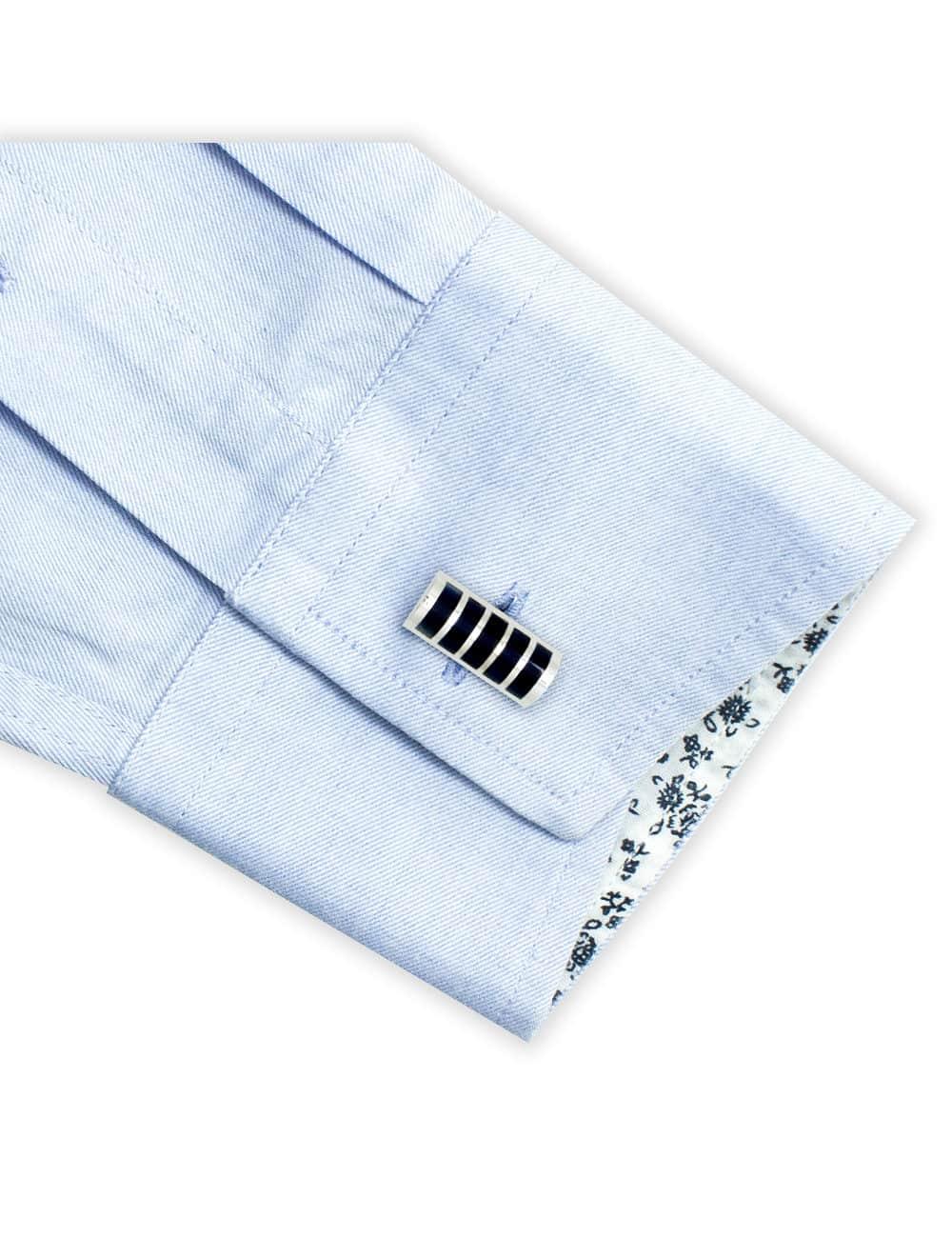 Navy Blue Enamel Stripes in Chrome Silver Cufflink C121FC-040A.