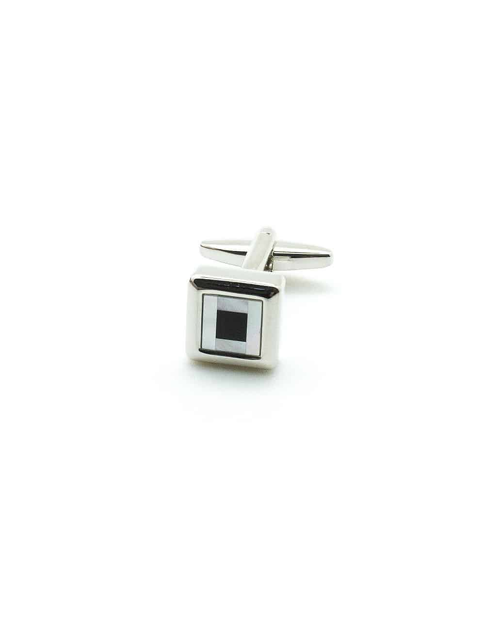 White Pearl with Black Enamel in Silver Square Cufflink C131FP-068