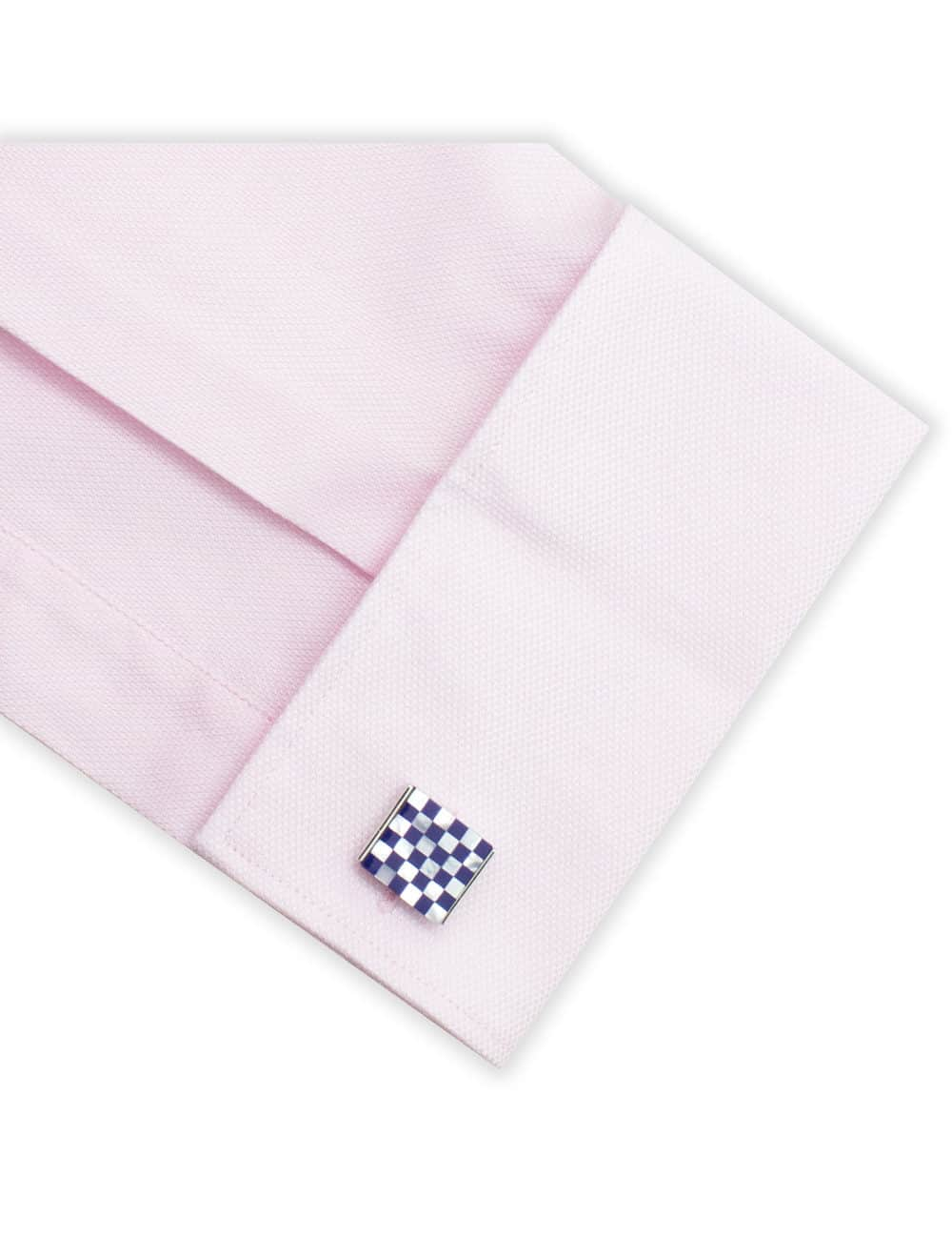White Pearl and Blue Enamel Checks in Silver Square Cufflink C131FP-069