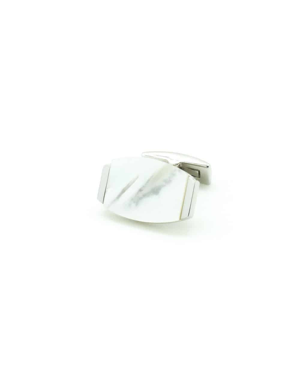 White Pearl in Silver Rounded Rectangle Cufflink C131FP-078A.