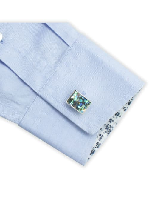 Blue And Green Pearl Mosaic Tile in Silver Rectangular Cufflink C131FP-083