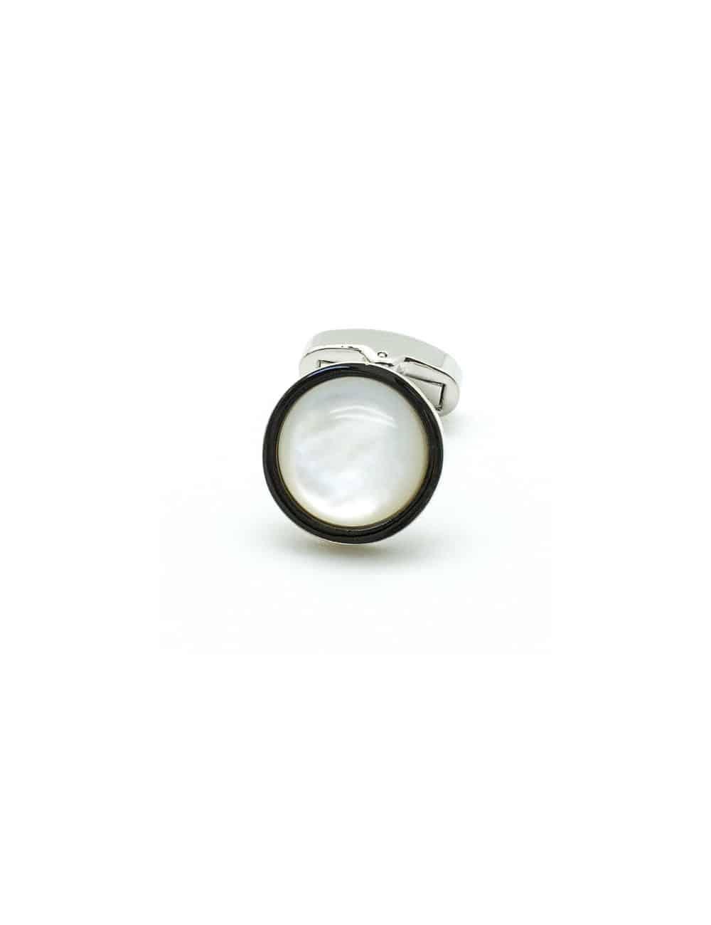 White Pearl Convex in Silver Round White Cufflink C131FP-085