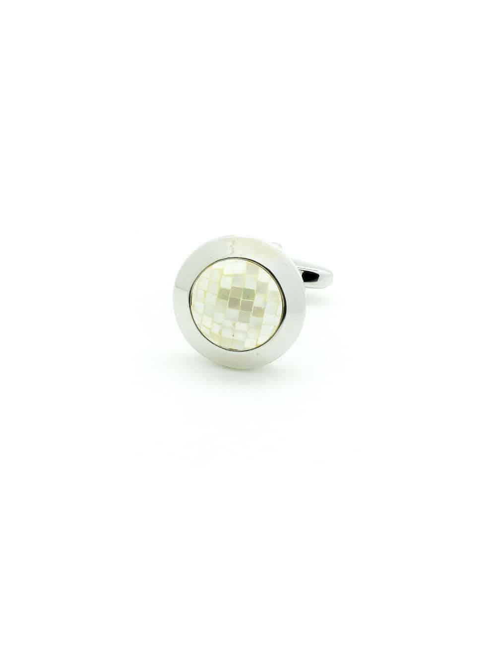 Beige Pearl Mosaic Cap Cufflink in Silver Round C131FP-087