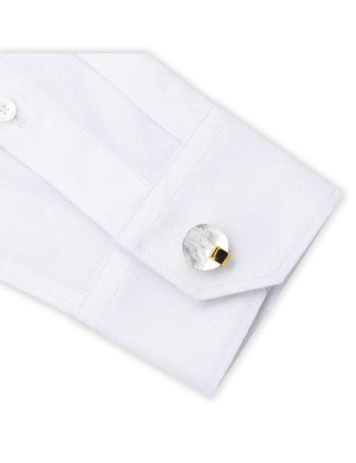White Pearl in Gold Round Cufflink C131FP-089