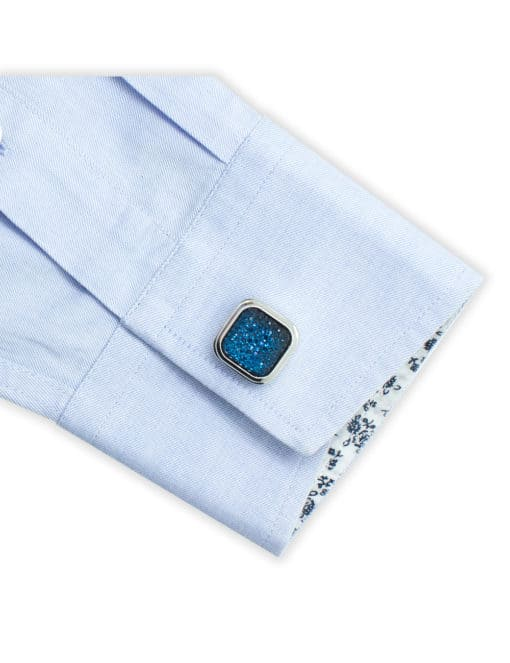 Blue Crystal in Silver Squircle Cufflink