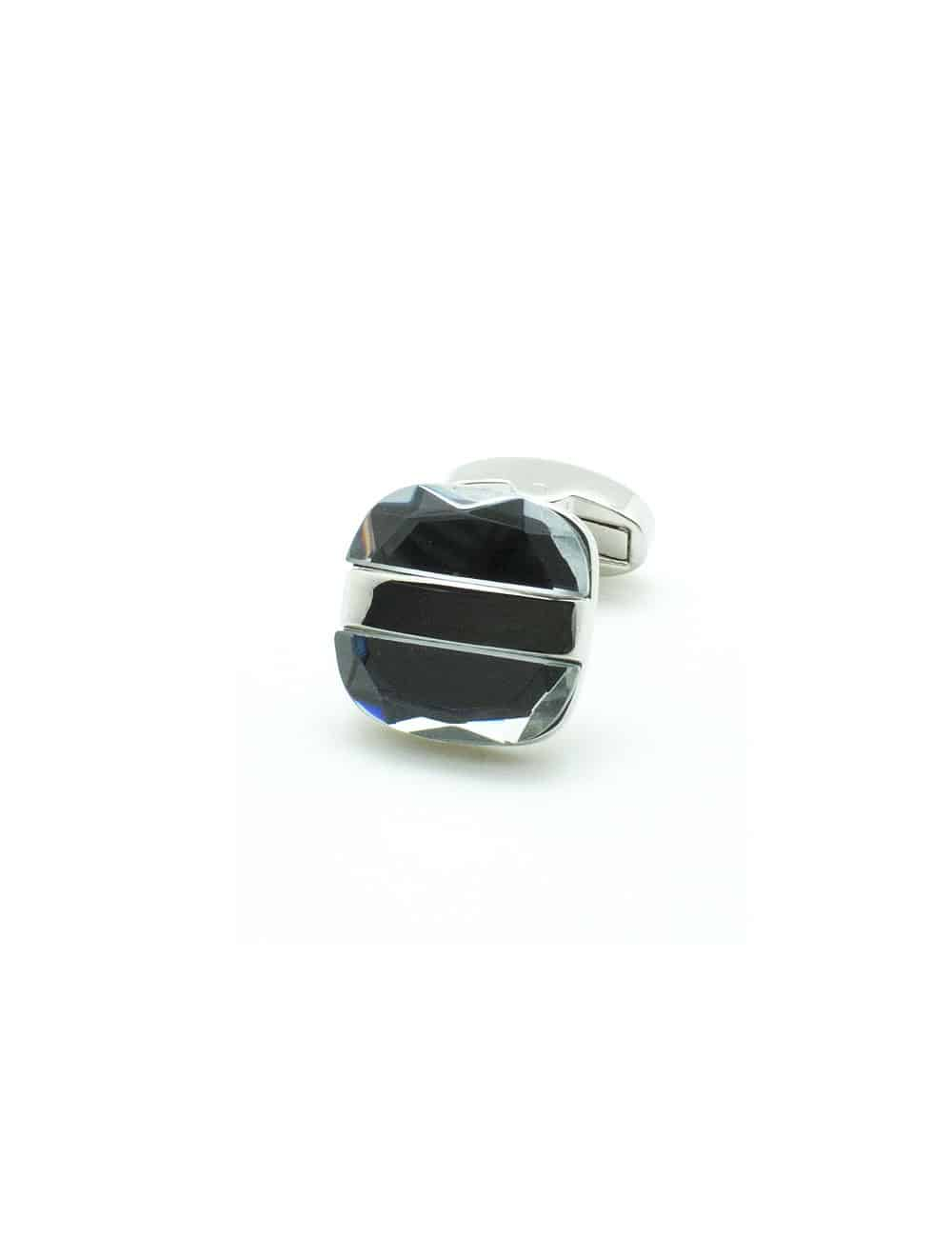 Dual Clear Crystal in Silver Square Cufflink