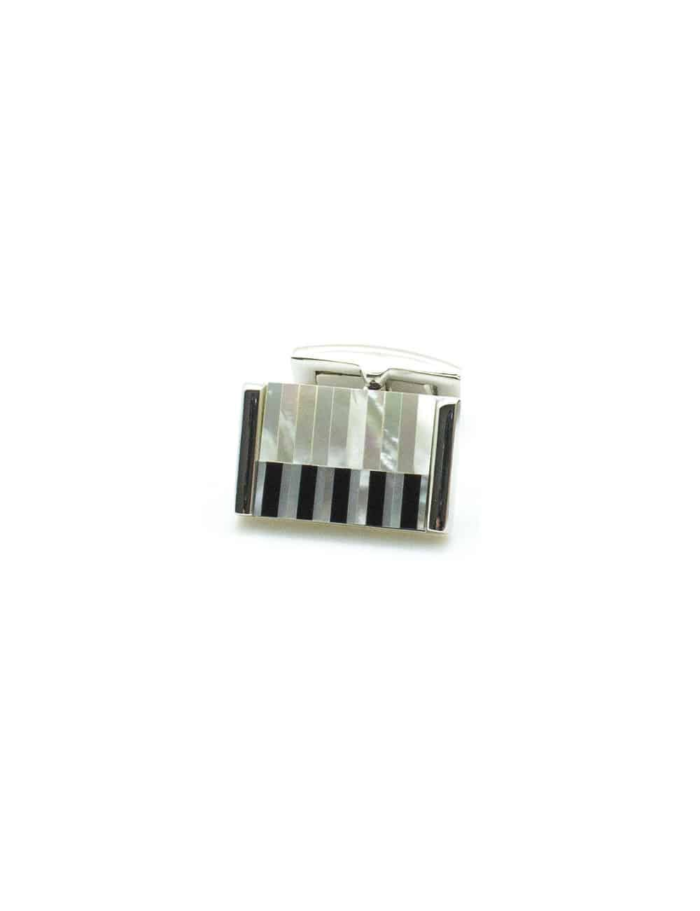 White Pearl Piano with Black Enamel Keys Cufflink C212NH-013