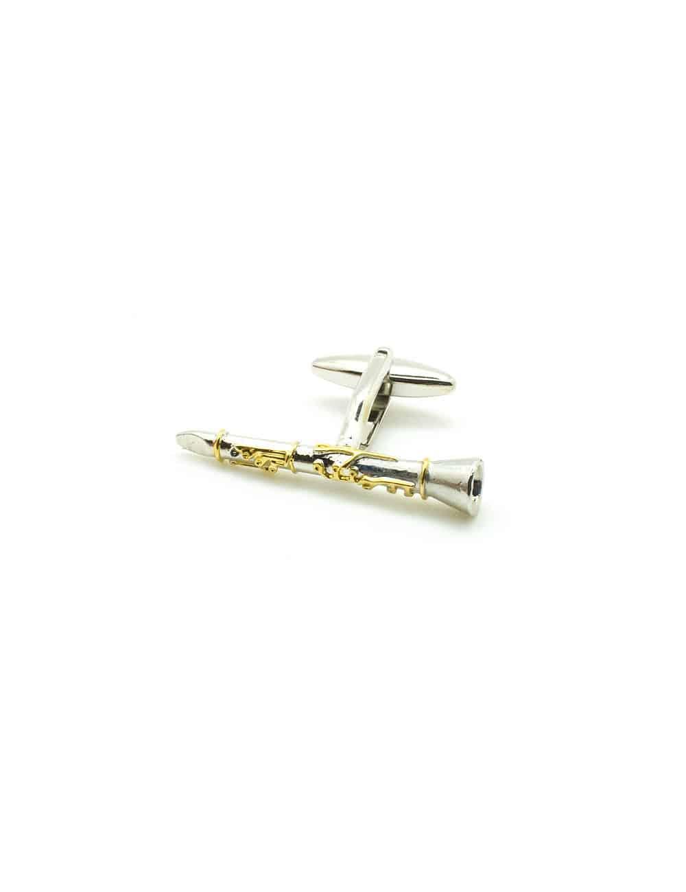 Silver Clarinet with Gold Details Cufflink C212NH-014