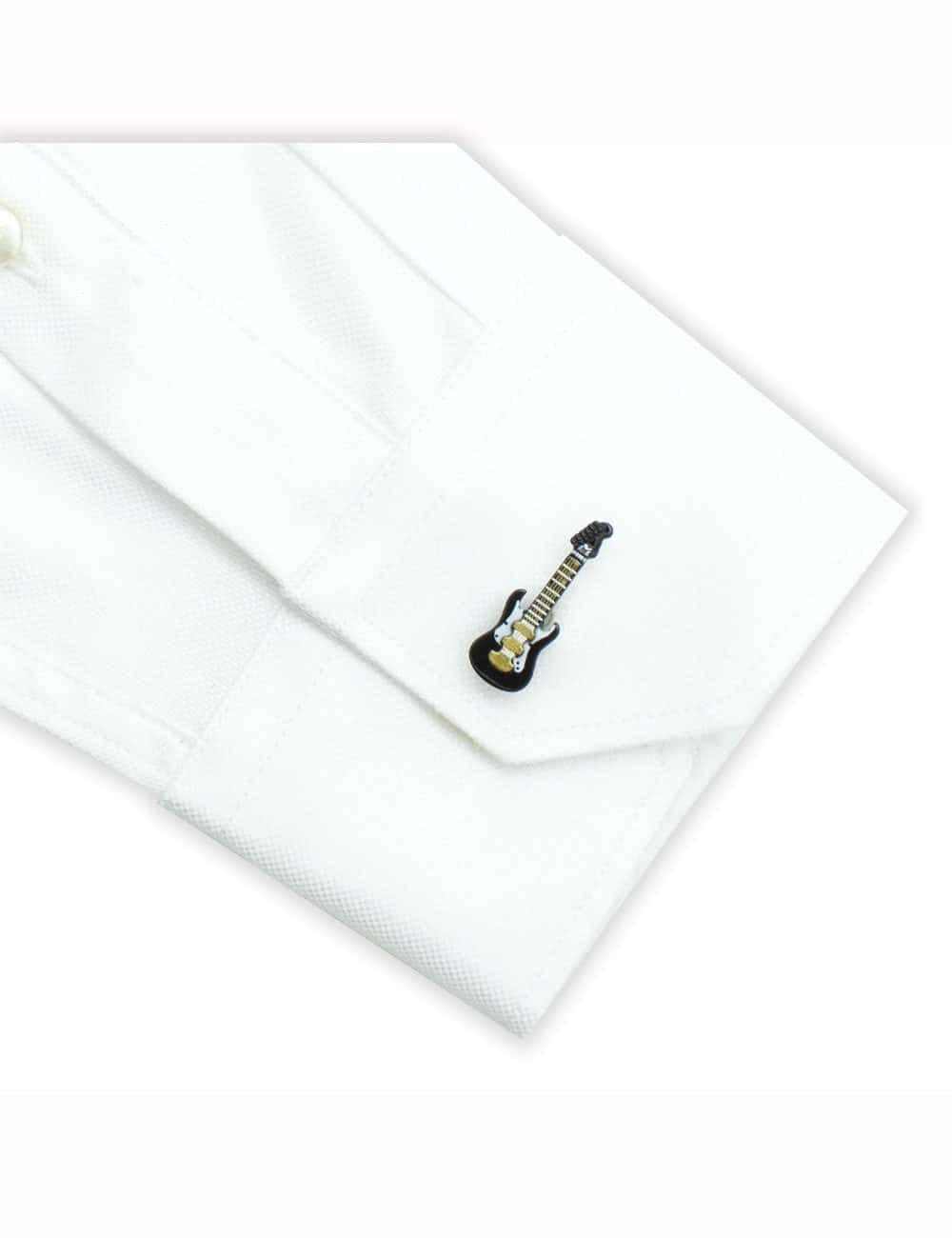 Black Electric Guitar with White and Gold Details Cufflink C212NH-016A