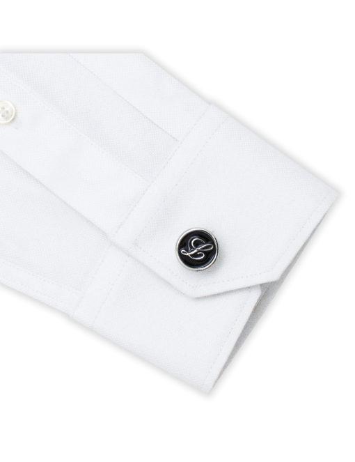 Black Enamel Letter L Cufflink C221NL-020L
