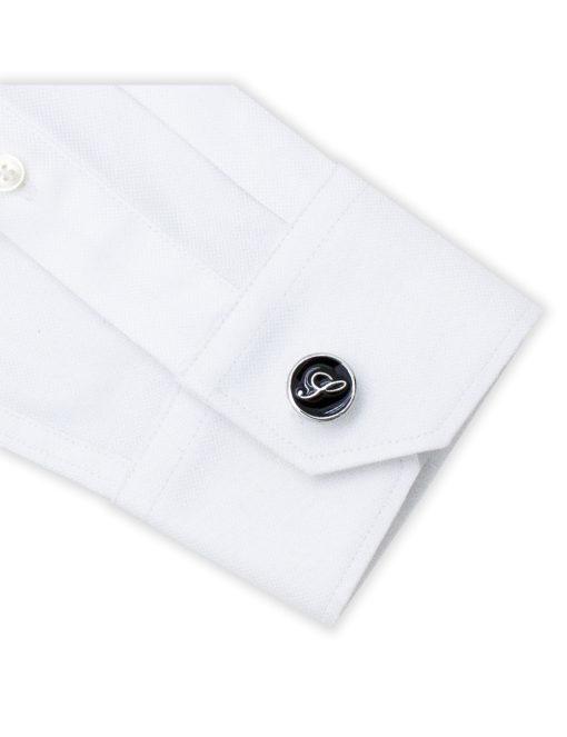 Black Enamel Letter S Cufflink C221NL-020S