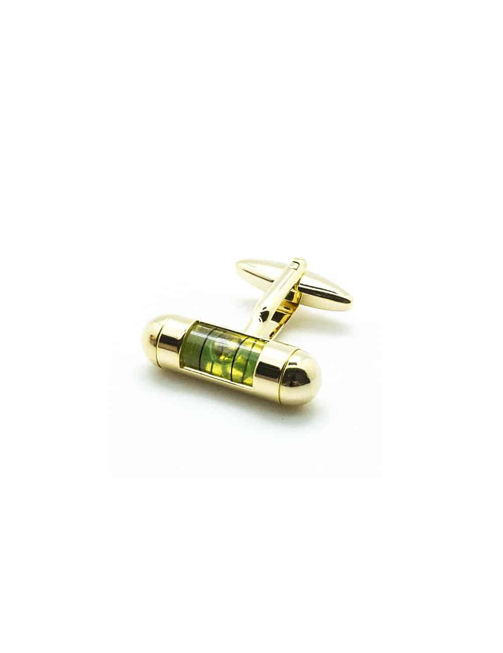Green Spirit Level in Gold Round Head Cufflink C241NP-015B