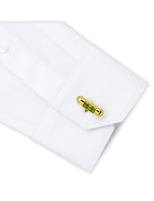 Green Spirit Level in Gold Round Head Cufflink C241NP-015B