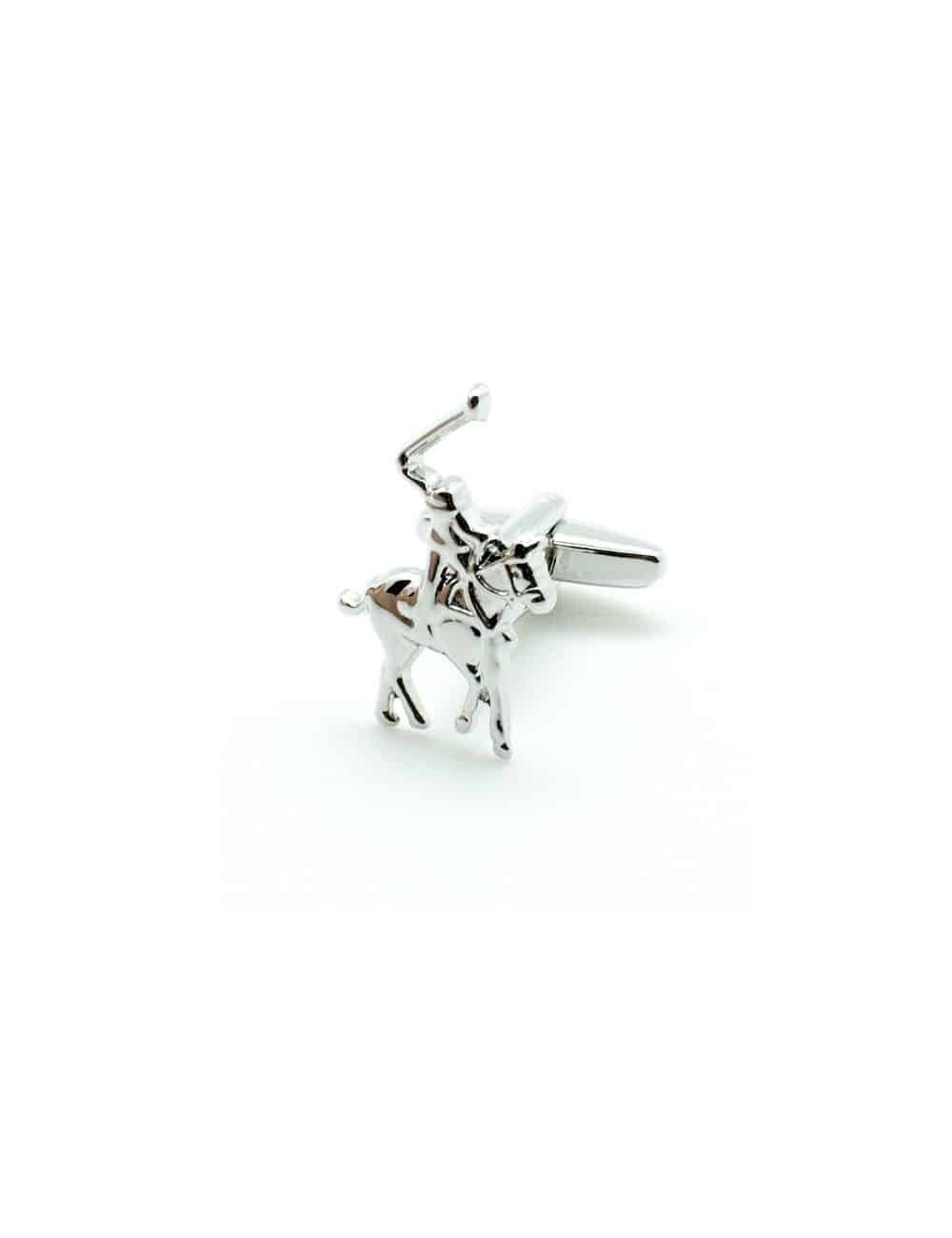 Silver Equestrian Horse Back Riding with Whip Cufflink C256NS-015