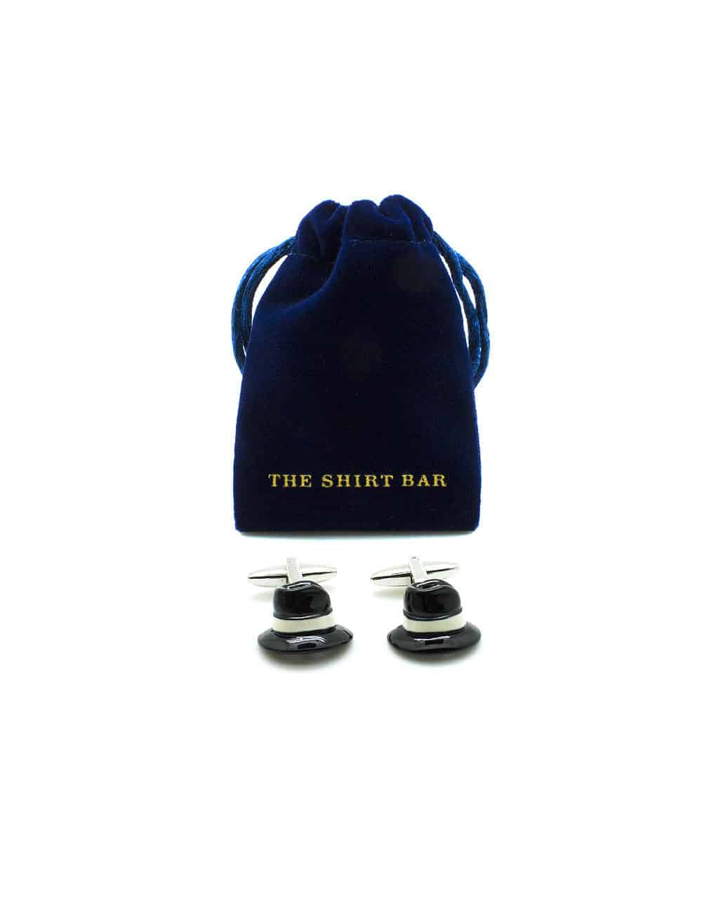 Black Hat with White Band Cufflink