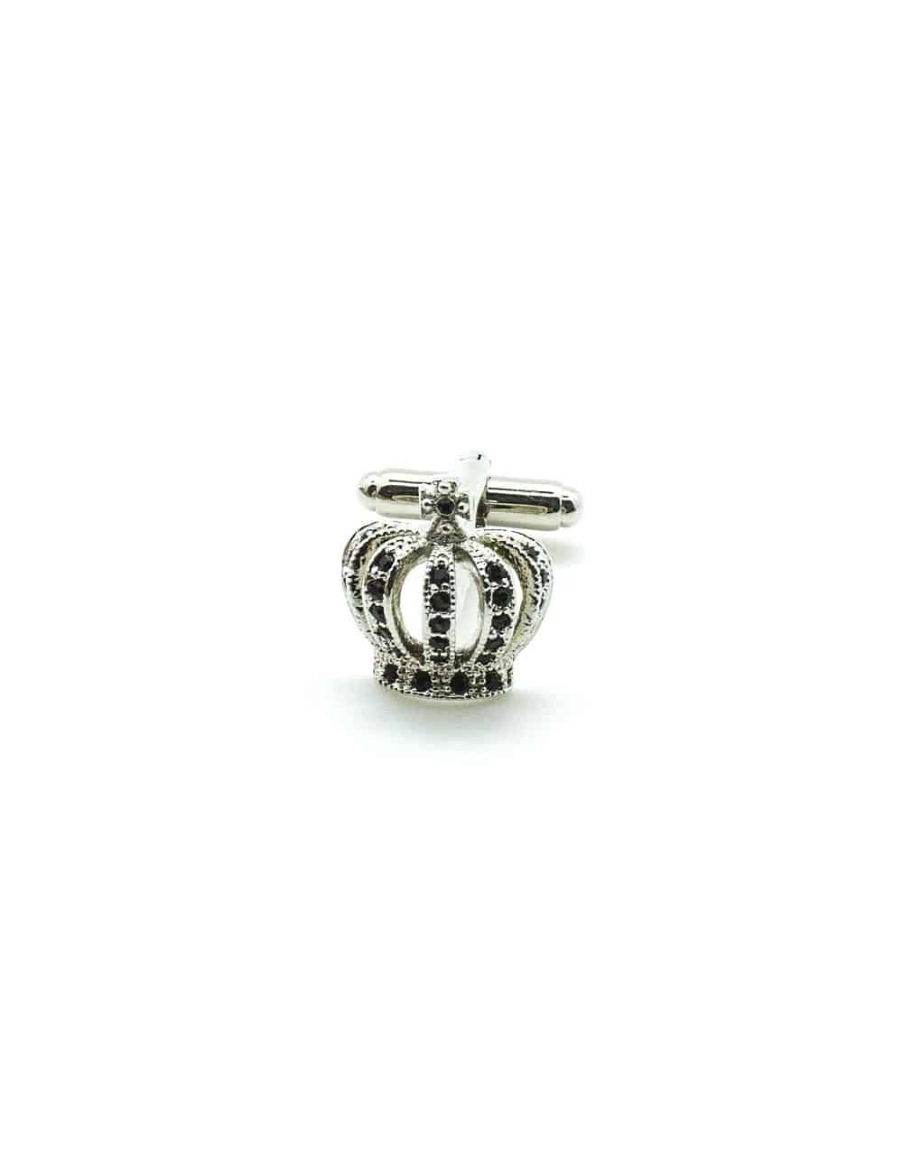 Silver Crown with Black Crystals Cufflinks C263NF-021