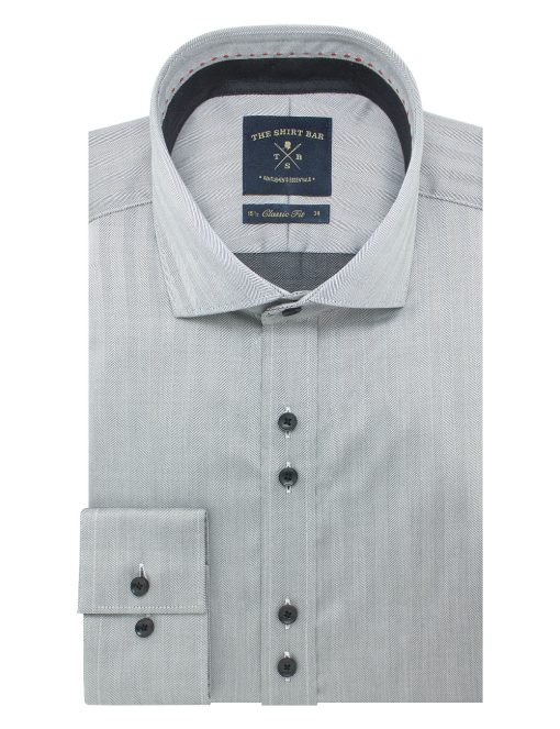 Black Herringbone Easy Iron Double Button Design Modern / Classic Fit Long Sleeve Shirt – CF42Q4.11