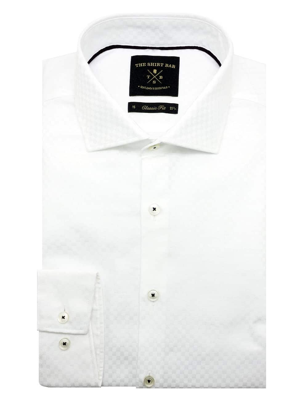 CF Solid White Checks 100% Premium Pima Cotton Double-Ply Long Sleeve Single Cuff Shirt CF1C9.16