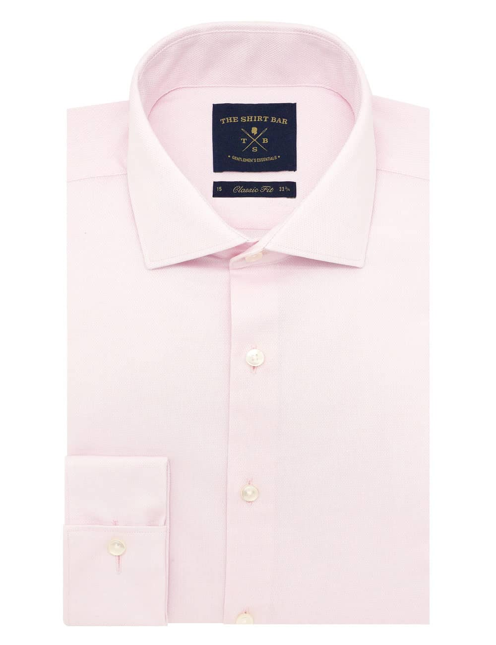 CF Solid Pink Dobby Cotton Blend Spill Resist Long Sleeve Double Cuff Shirt CF3D5.16