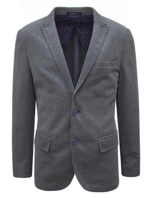 Slim Fit Charcoal Grey Knitted Blazer - B1B1.1