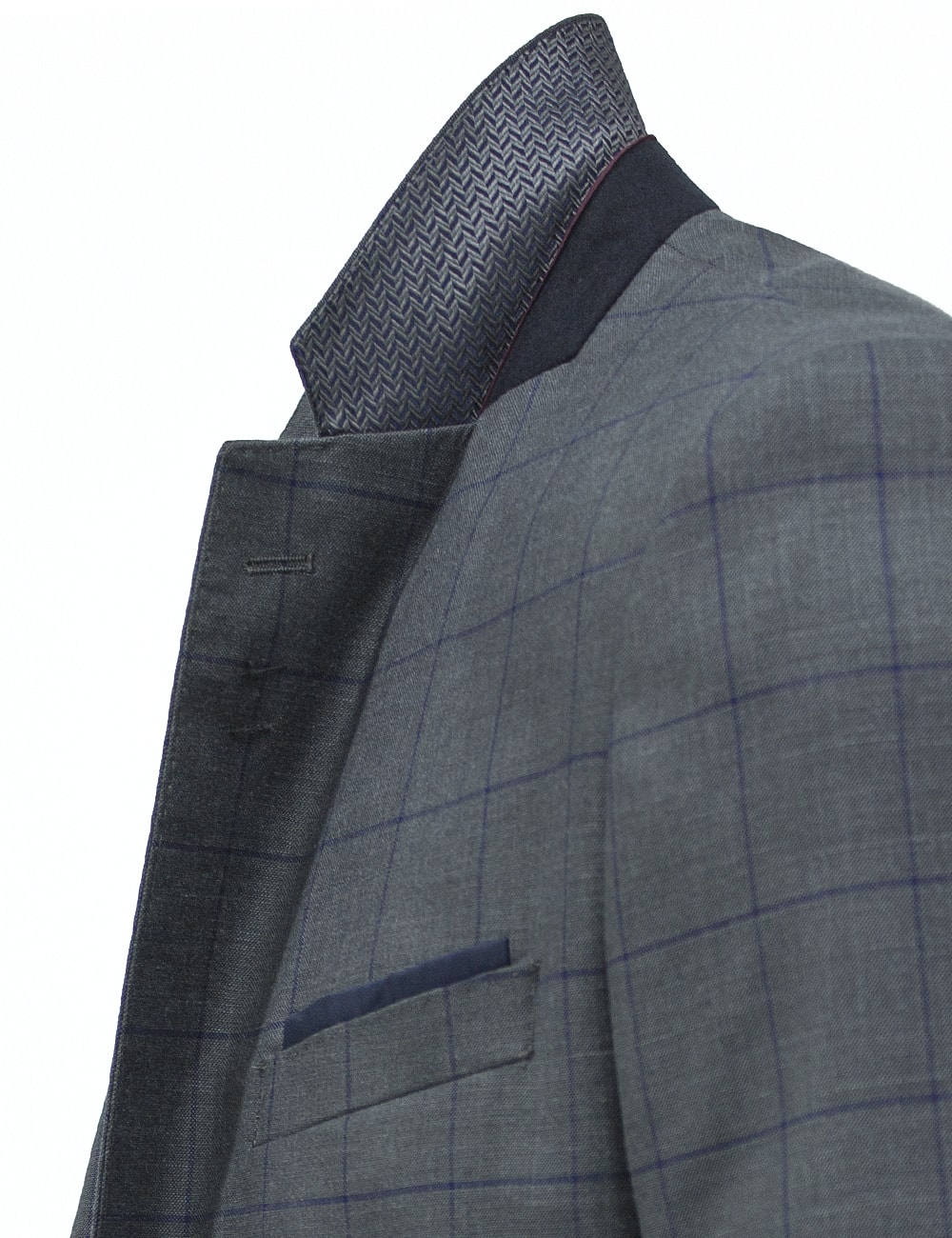 Slim / Tailored Fit Charcoal Grey Twill Single Breasted Suit Set - SS4.4
