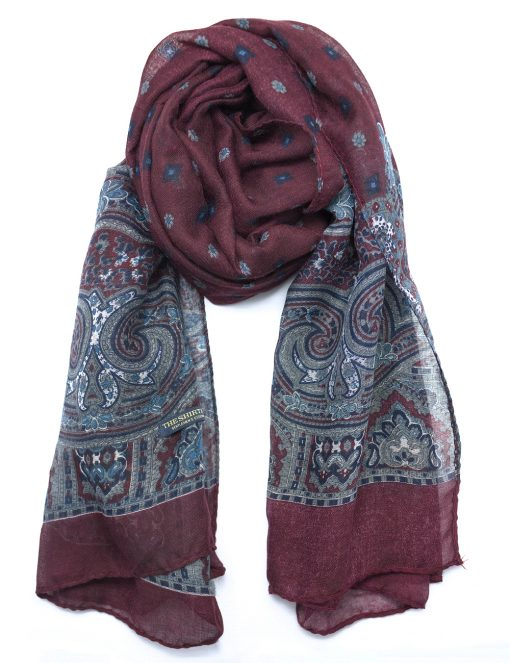 'Gatsby' Deep Red Paisley Printed Scarf - WS3.1