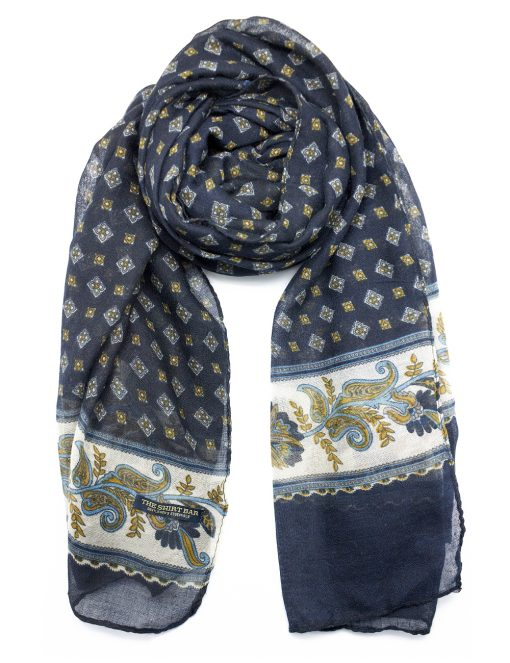 'Eclipse' Blue Paisley Printed Scarf - WS9.1